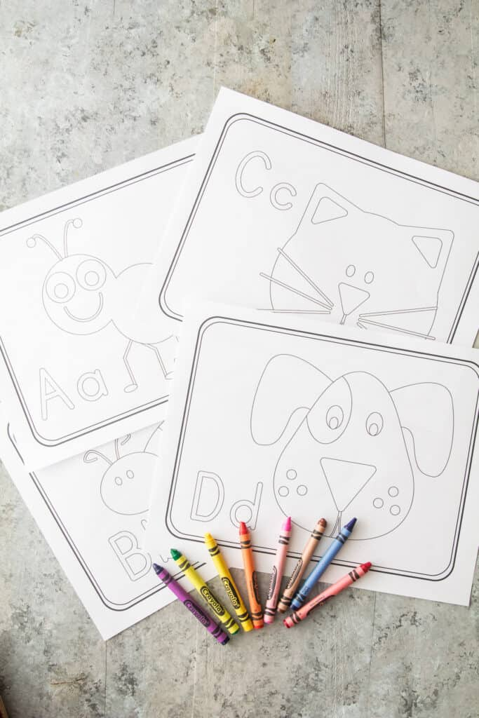 ABC Letter Recognition Worksheets with color crayons