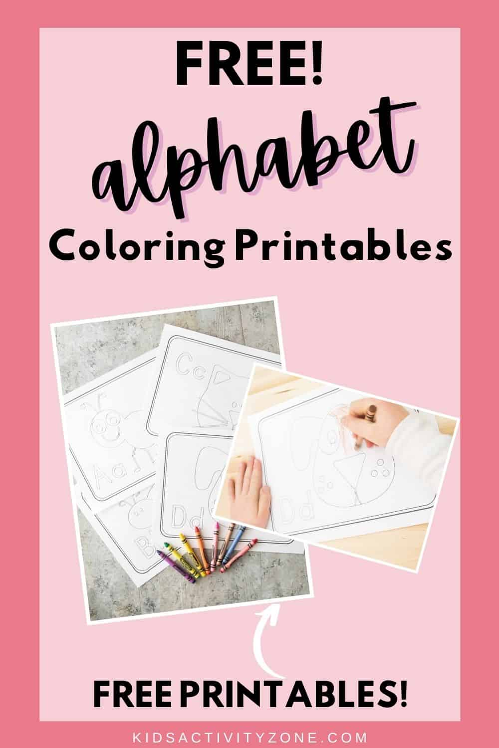 Alphabet Coloring Sheet Printable are the perfect easy activity for children learning their ABCs. Each picture has the letter of the alphabet in both upper and lowercase plus a cute picture to color.
