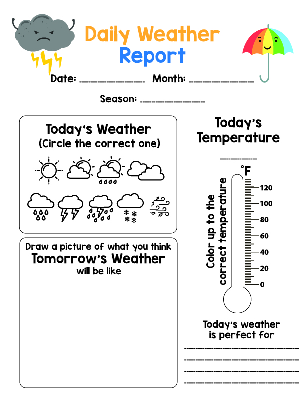 Daily Weather Chart Printable for Kids