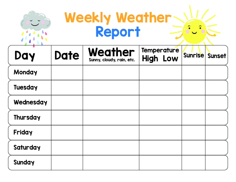 Weekly Weather Chart Printable for Kids