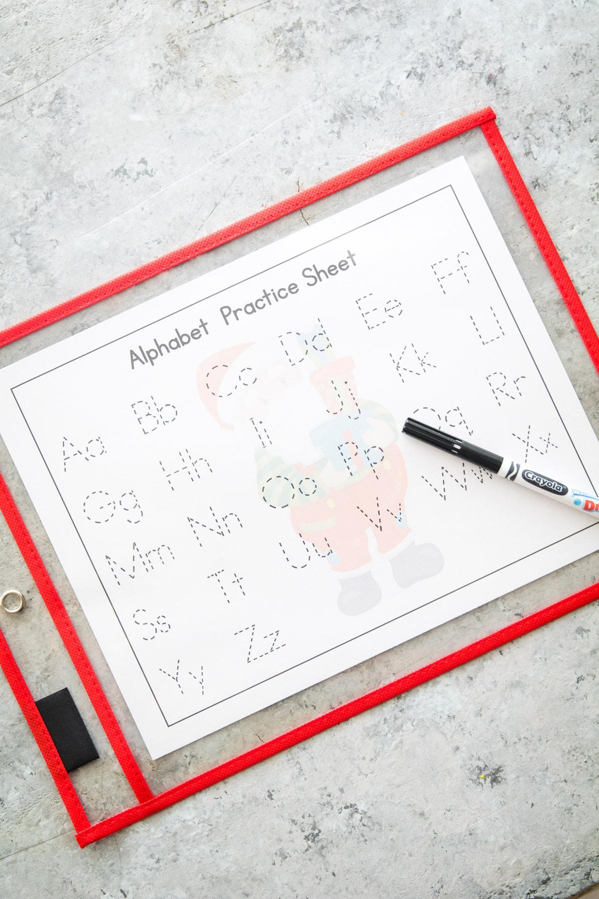 Christmas Alphabet Practice Worksheets in Dry Erase sleeve