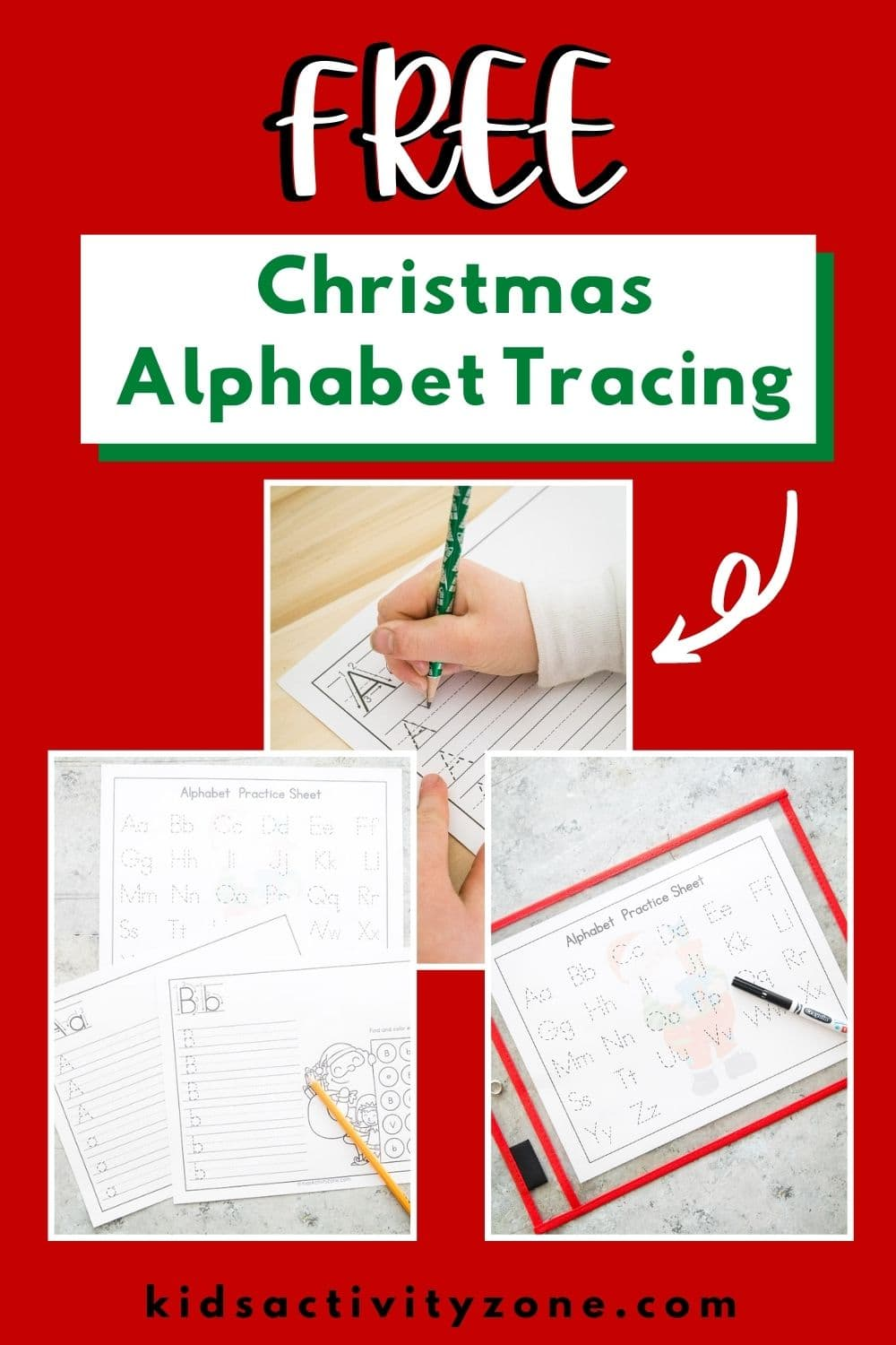 Christmas Alphabet Practice Worksheets are holiday fun so kids will love them! They will practice handwriting and letter recognition in a fun holiday themed printable!