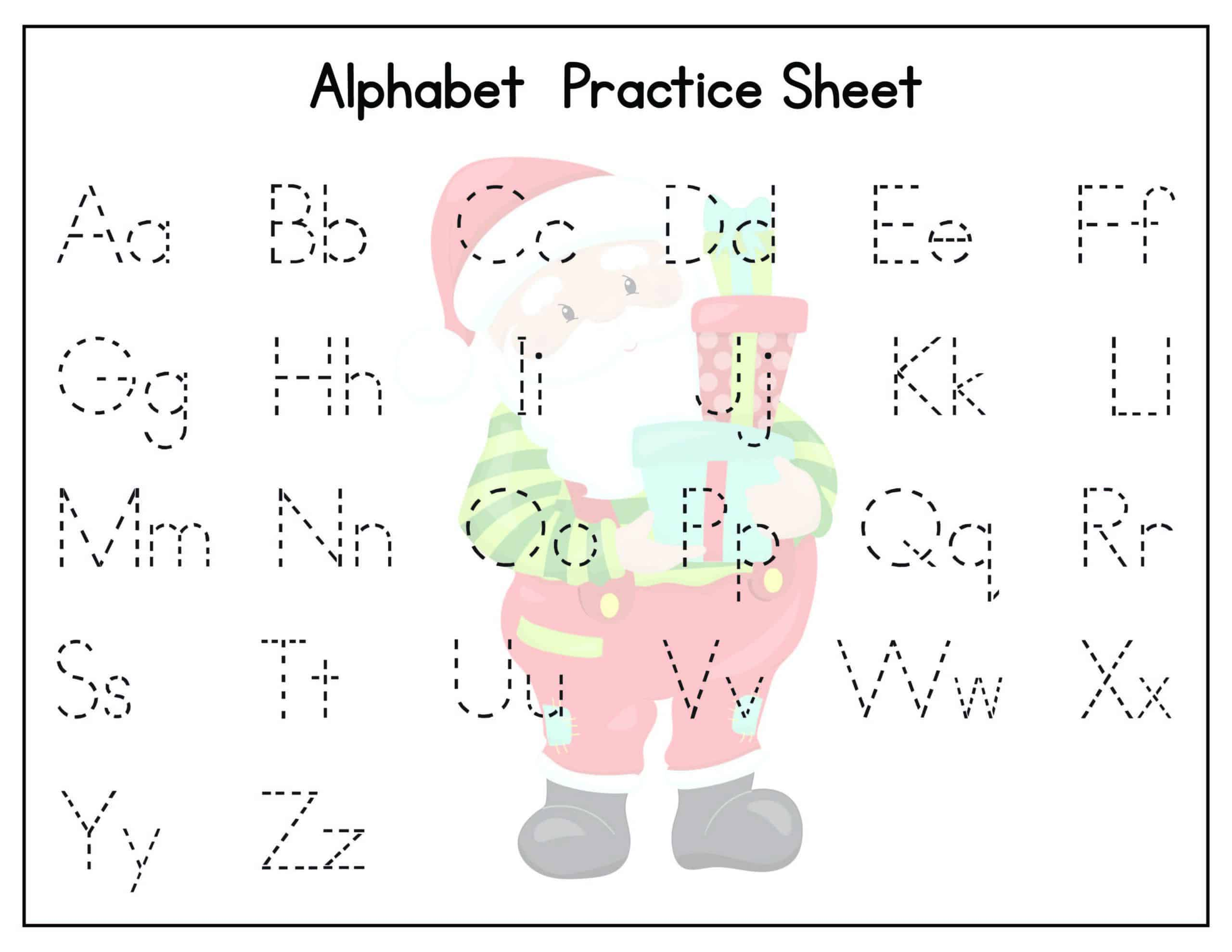 Christmas Alphabet Worksheet with uppercase and lowercase tracing