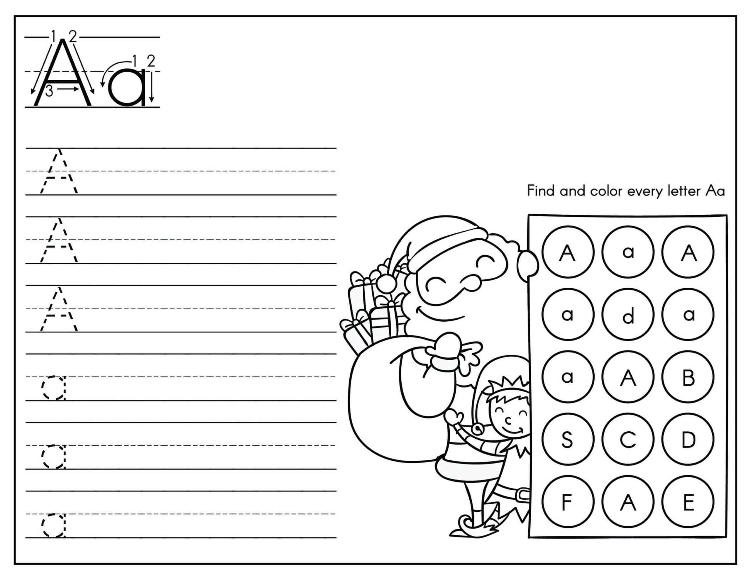 Letter a uppercase and lowercase tracing worksheet with Santa