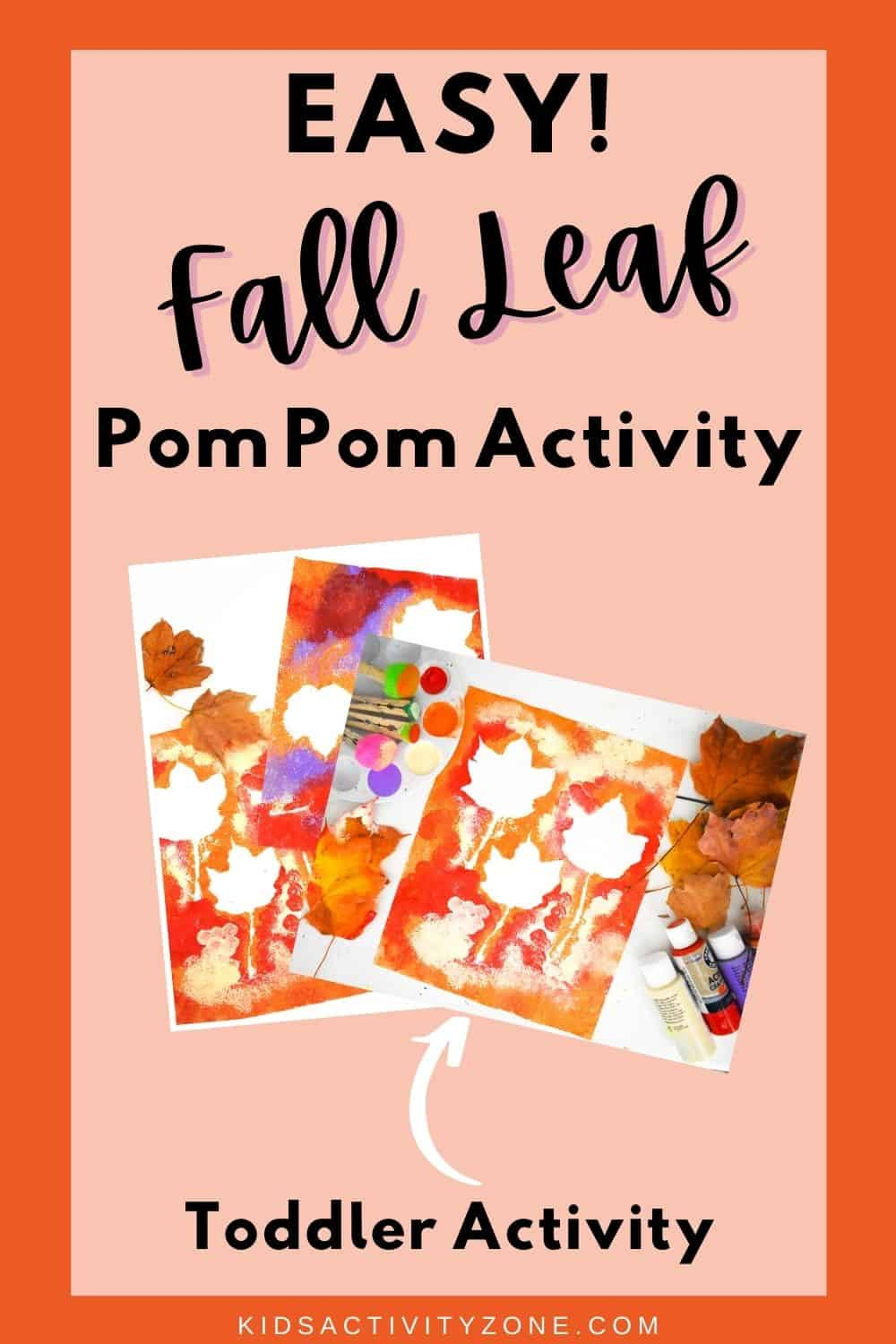 Fall Leaf Pom Pom Painting that's fun for young kids! This is the perfect simple, easy craft for toddlers, preschoolers and young children. This fall art project requires minimal supplies and time.