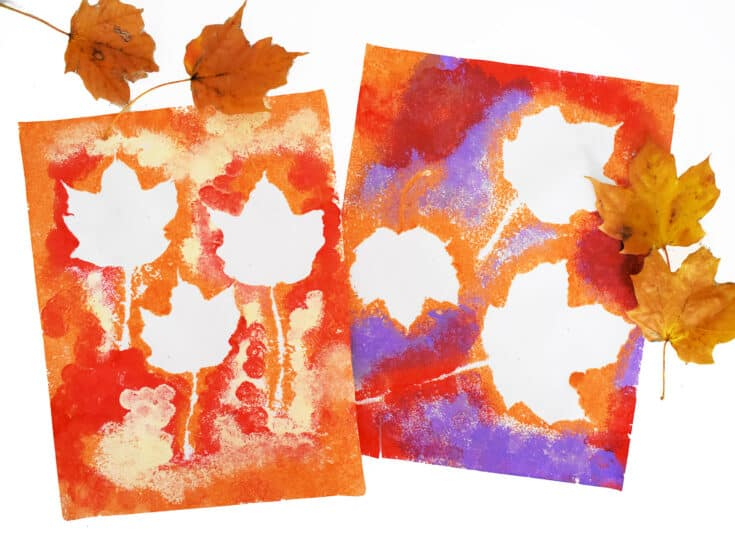 Two Pages of Fall Leaf Pom Pom Painting with leaves next to it