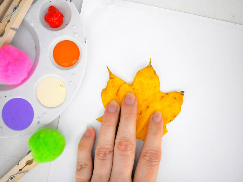 Hand placing a leaf on white paper