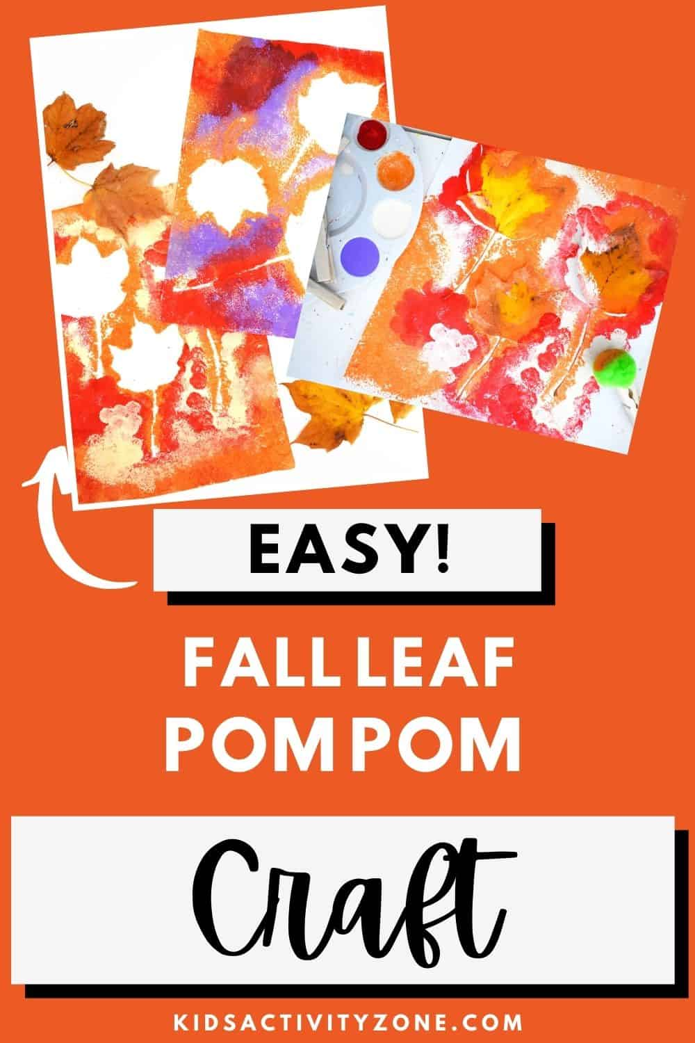 This easy fall craft is so fun to do with toddlers, preschools and young kids. Grab the pom poms, paint and leaves to make this easy fall leaf art!