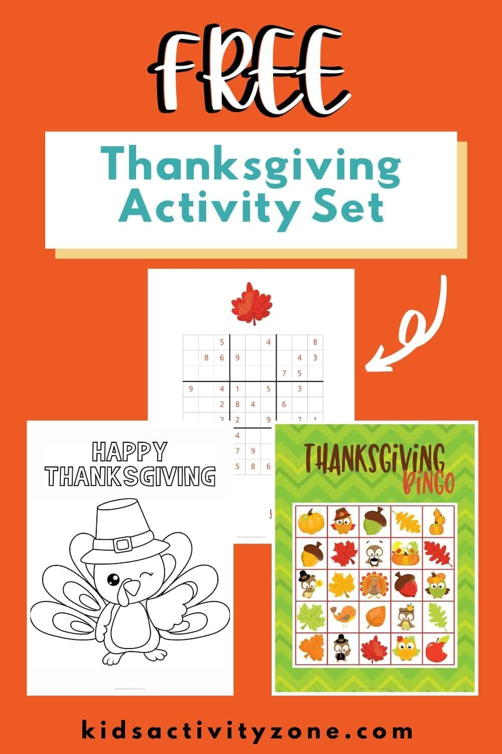 Free Thanksgiving Activities Printable set is the perfect entertainment for holiday parties. It included Bingo, Coloring Pages, Sudoku puzzles, Word Searches and more!