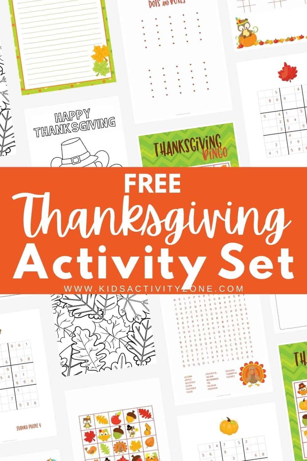 Thanksgiving Activities Printable Set is a free set of Thanksgiving Bingo, Word Search, Sudoku puzzles, Tic Tac Toe and more! It's the perfect after Thanksgiving meal entertainment or for holiday parties.