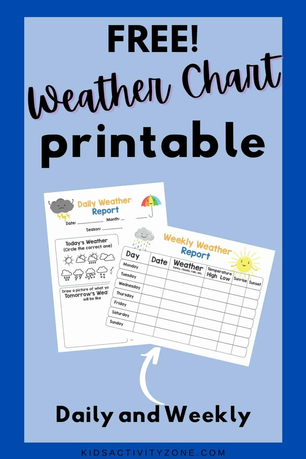 Weather Journal that's perfect for unit studies for elementary aged children. This free printable comes with a weekly and daily chart for recording the weather or predicting tomorrow's weather!