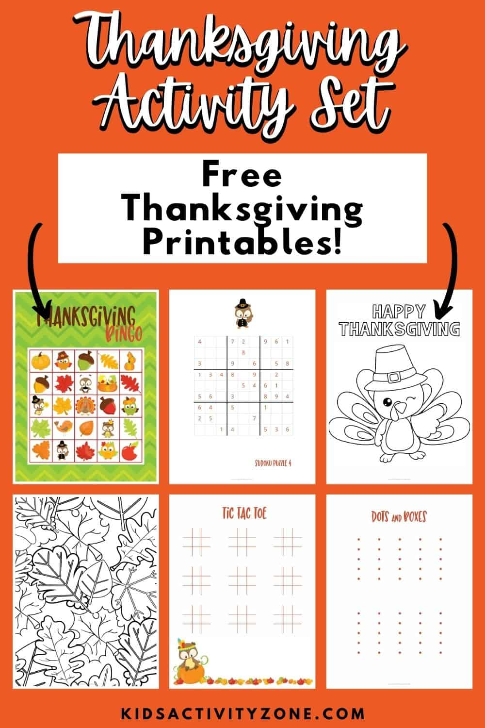 Every Thanksgiving party or holiday gathering needs these FREE Thanksgiving Activities. A set of printables that are perfect for every age. It includes Bingo, Word Search, Coloring Pages, Tic Tac Toe and more! Grab your set today.