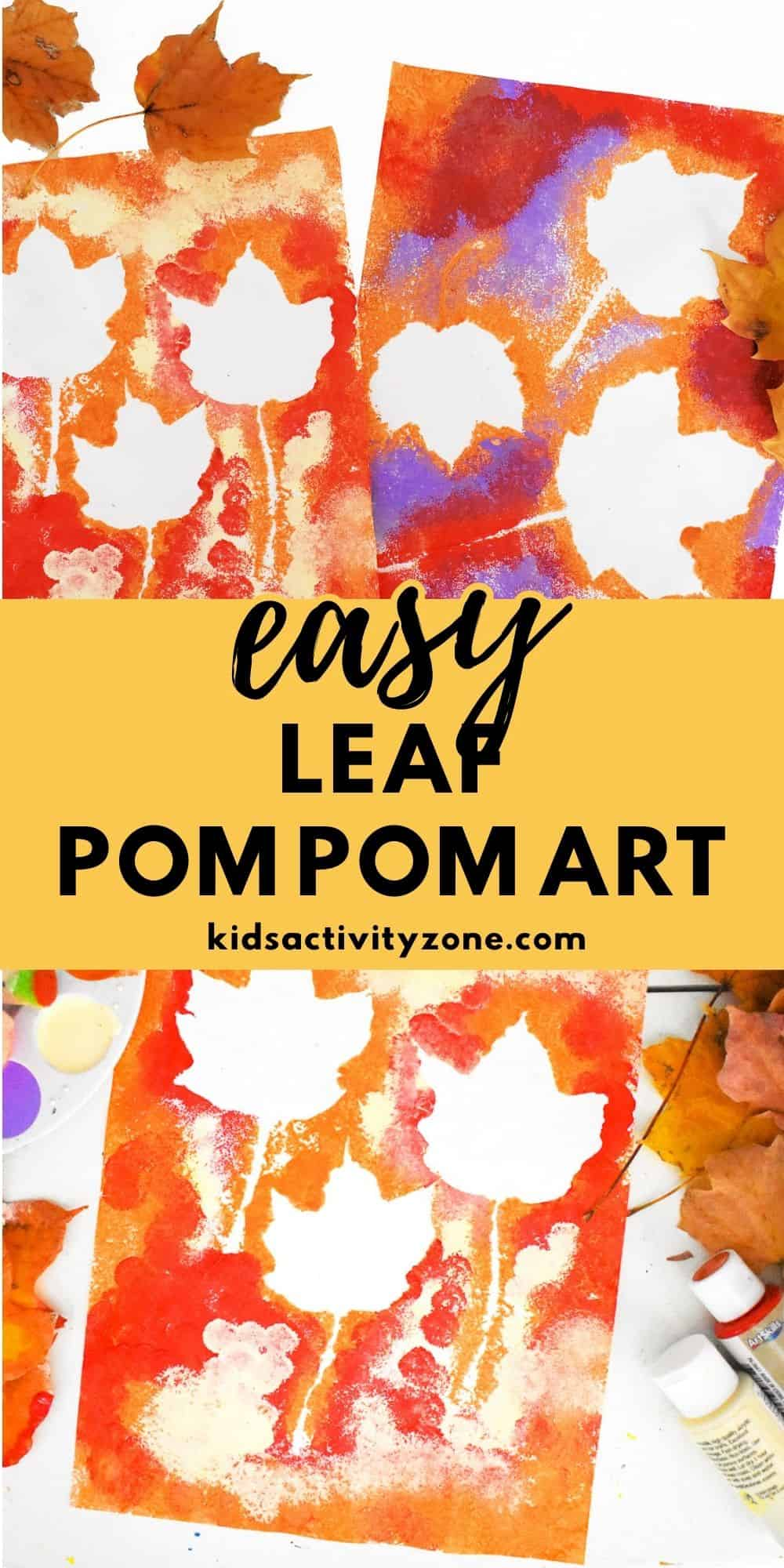 A quick and easy craft for toddlers and preschoolers perfect for fall. This Fall Leaf Pom Pom Painting Activity is easy to do with supplies around your house. Plus, it's a great for children's fine motor and sensory processing skills!
