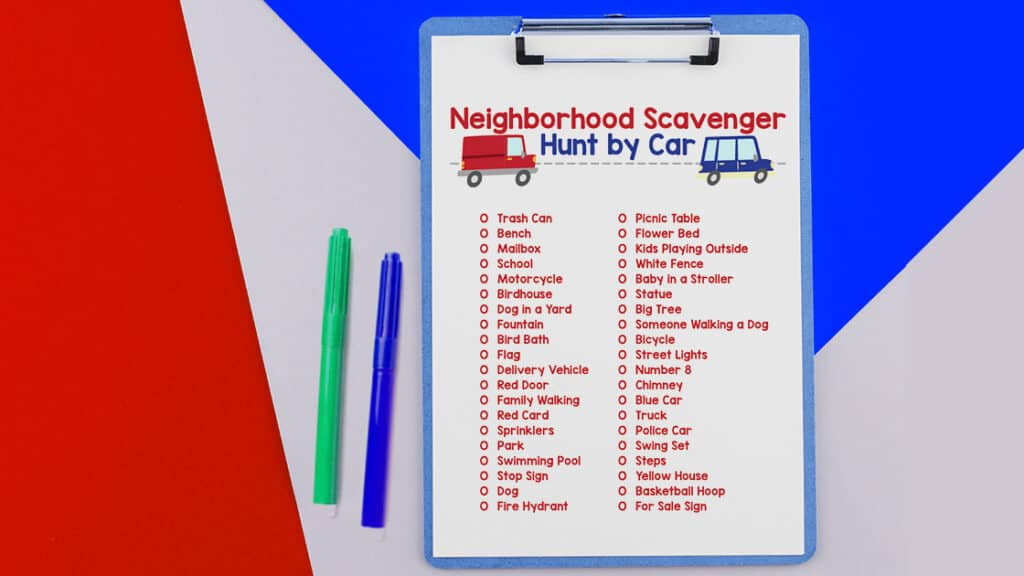 Scavenger Hunt by Car printable image on red and white background