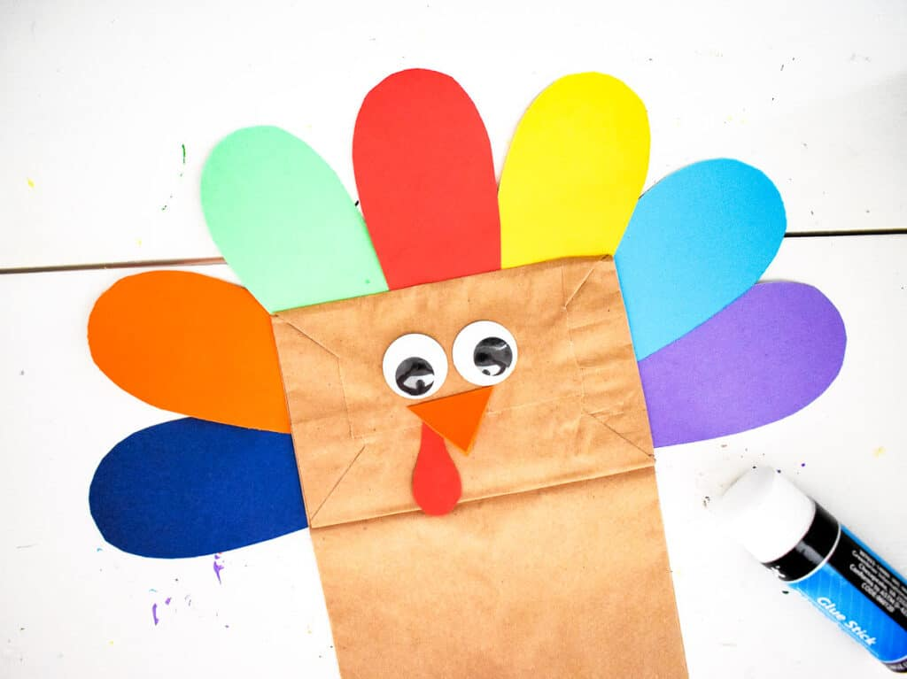 Paper Bag with face and feathers for turkey