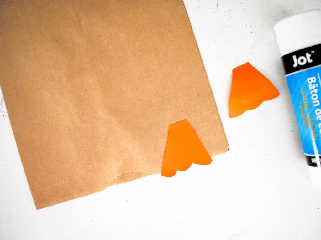 Feet of turkey glued to paper bag