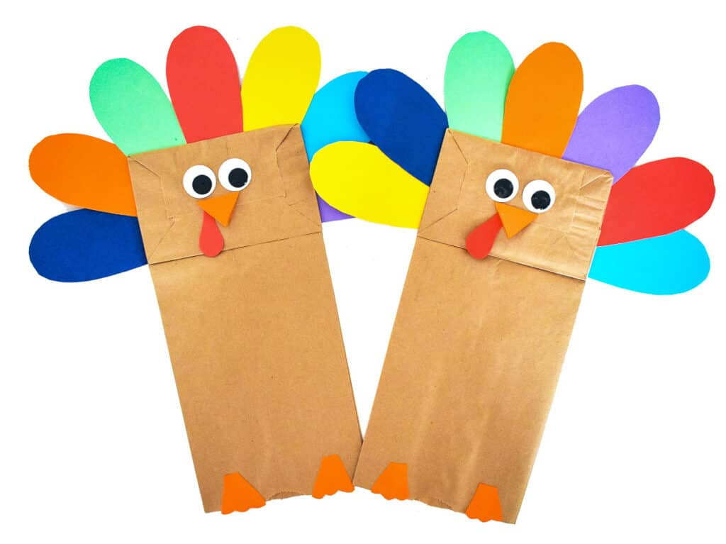 Two Paper Bag Turkey Crafts