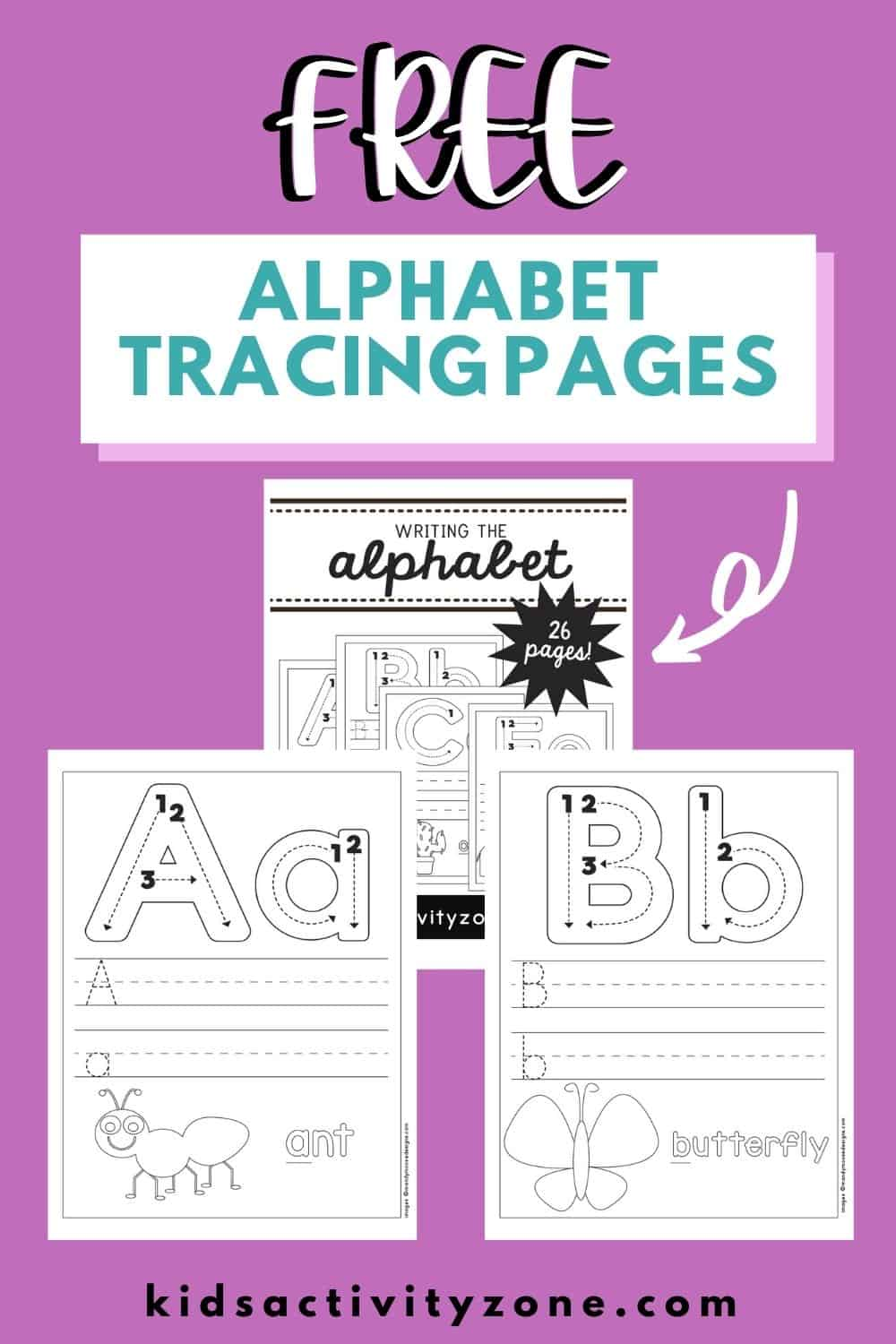 Free download for printable Alphabet Tracing and Writing Pages that helps children with identifying their letters, fine motor and phonics.