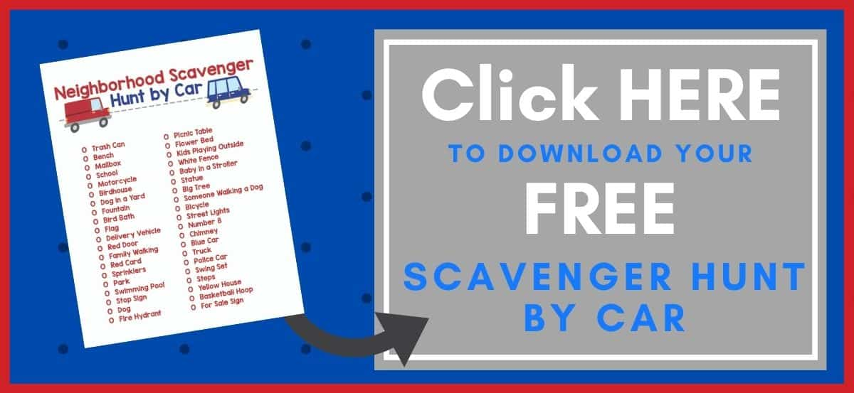 Scavenger Hunt by Car Printable Button