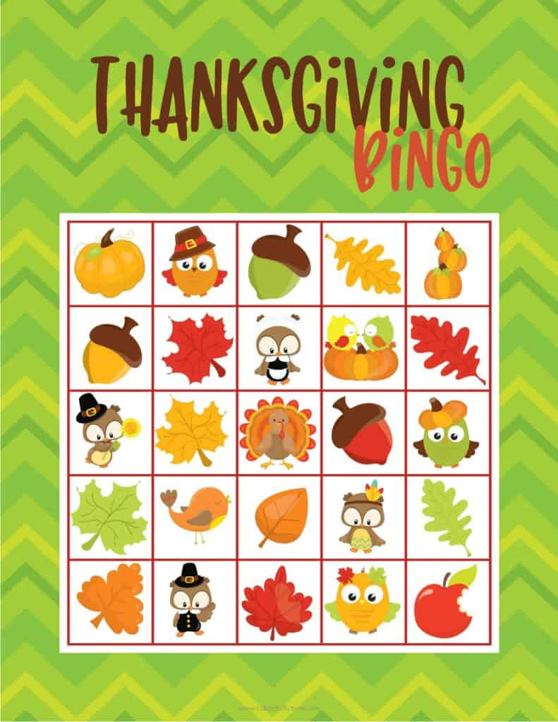 Image of a Thanksgiving Bingo Card on green background