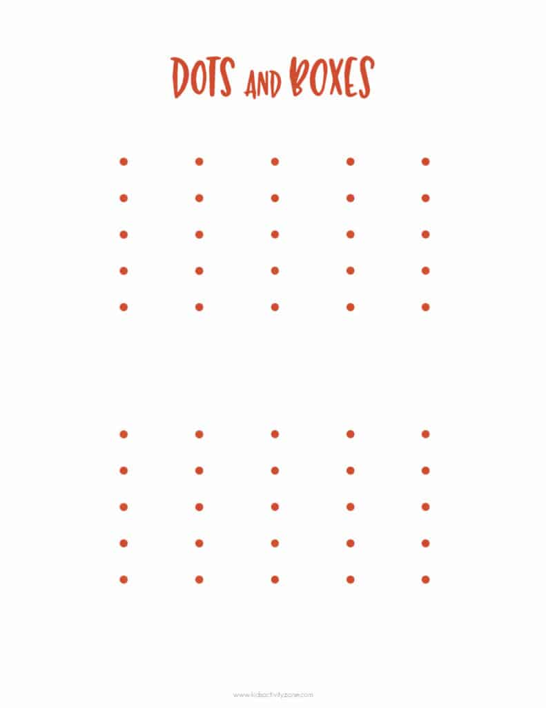 Dots and Boxes Game Thanksgiving Activity Set Kids Activity Zone
