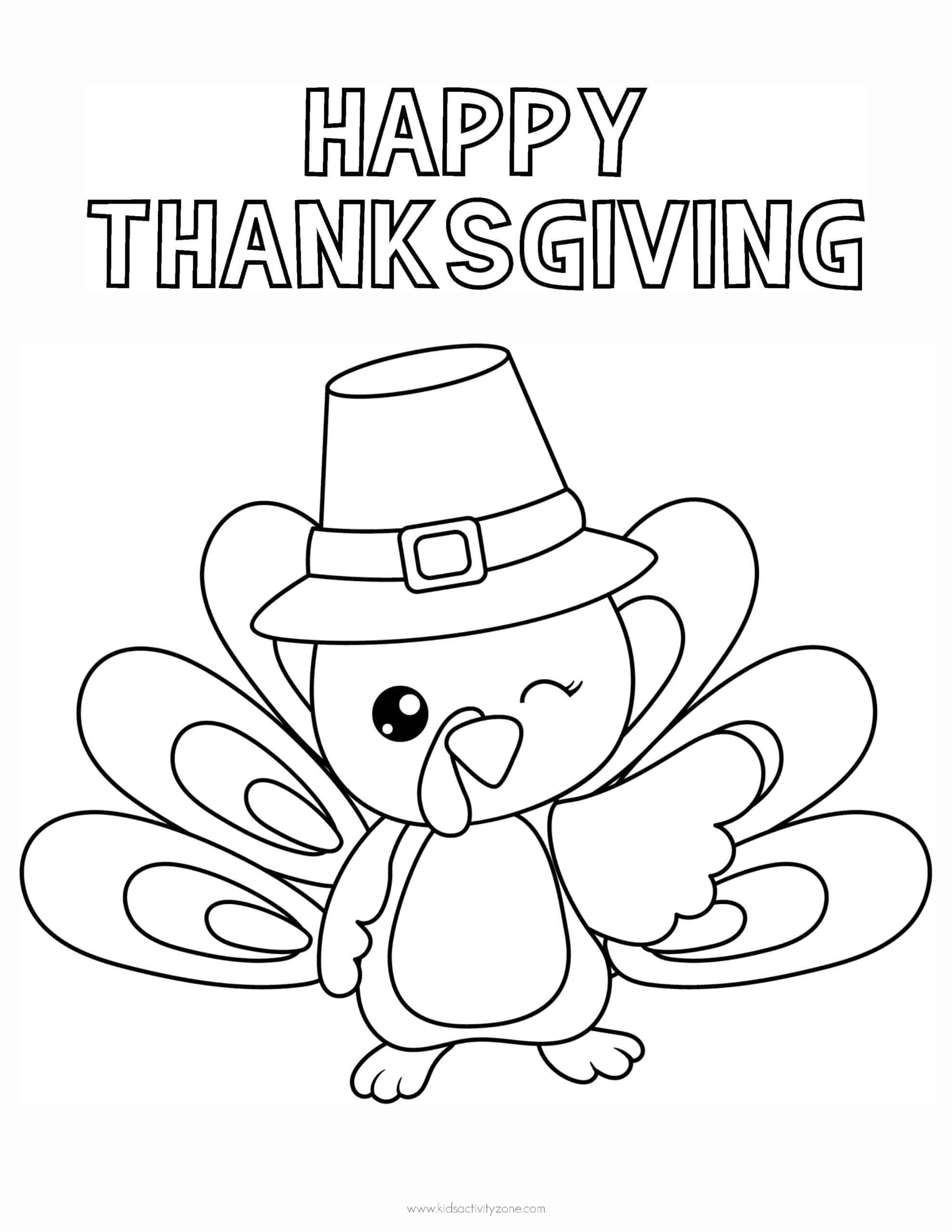 Happy Thanksgiving Turkey Coloring Page
