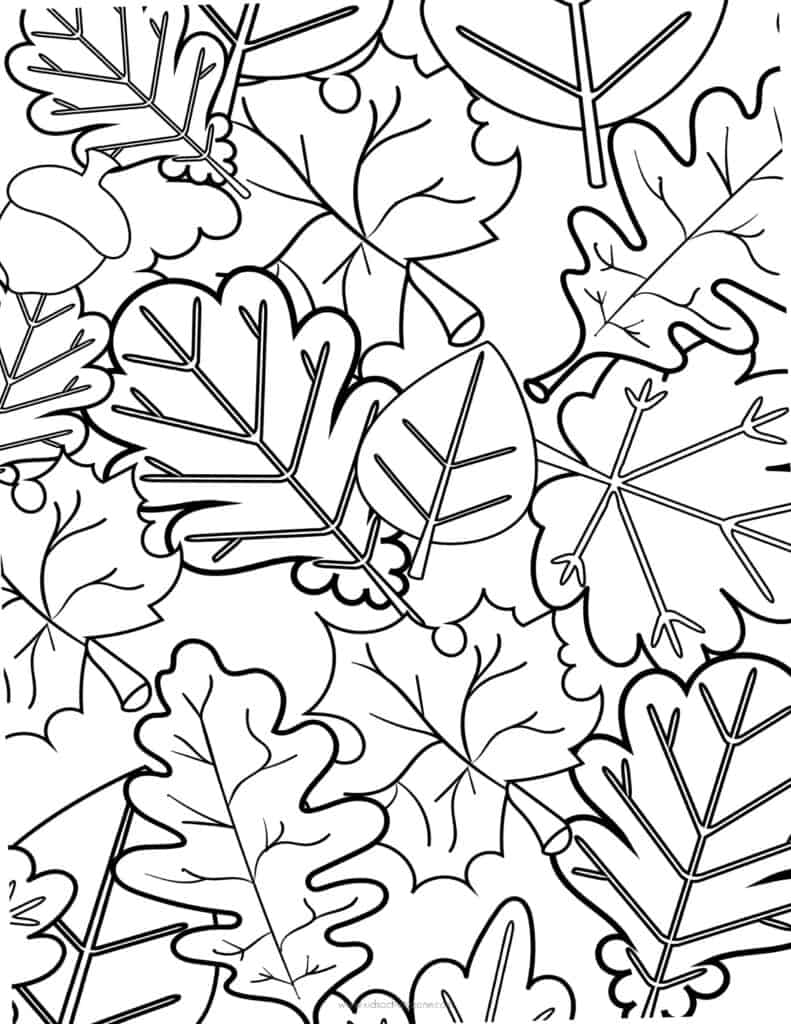 Leaf Collage Coloring Page
