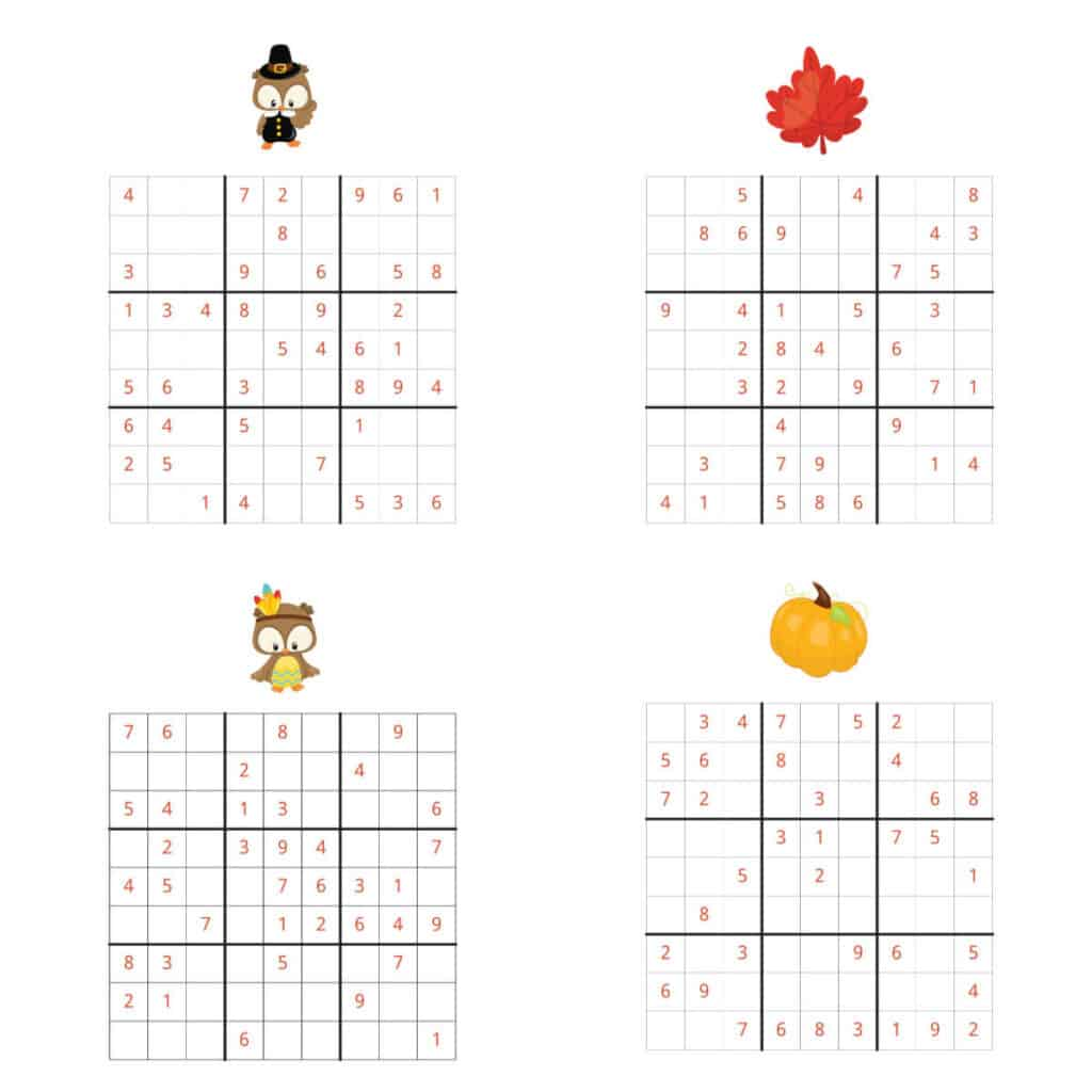 Sudoku Collage of four puzzles