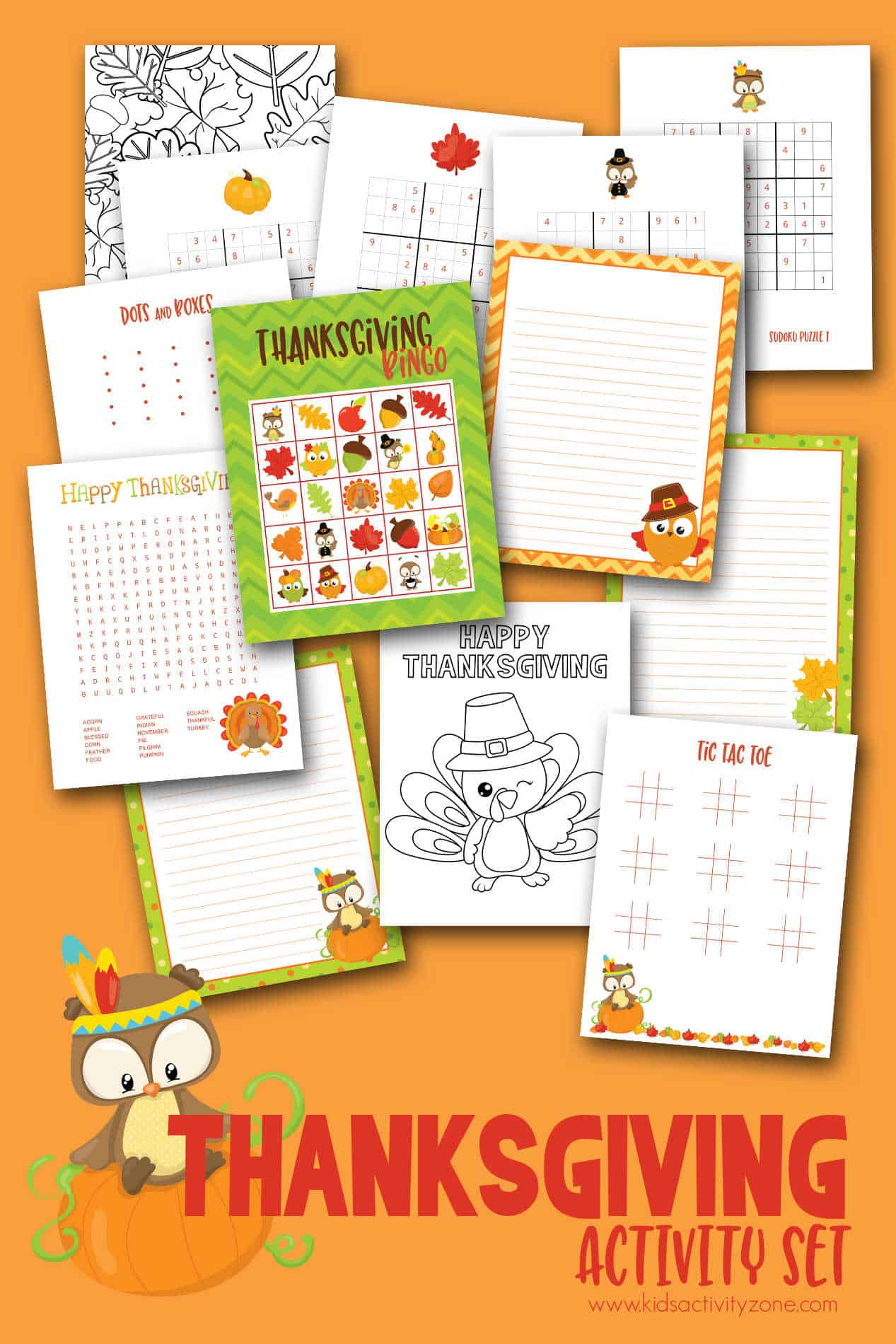 A great round up games, printables and more. This Free Thanksgiving Activities Printable includes a word find, coloring pages, Thanksgiving Bingo, Sudoku games, Tic Tac Toe and more!