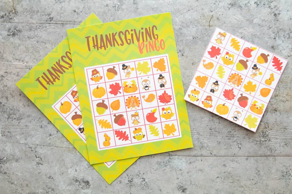 Two Thanksgiving Bingo cards and a card of calling images