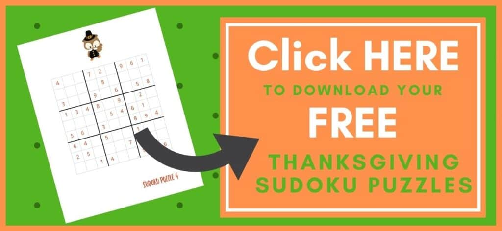 Thanksgiving Sudoku Printable Button