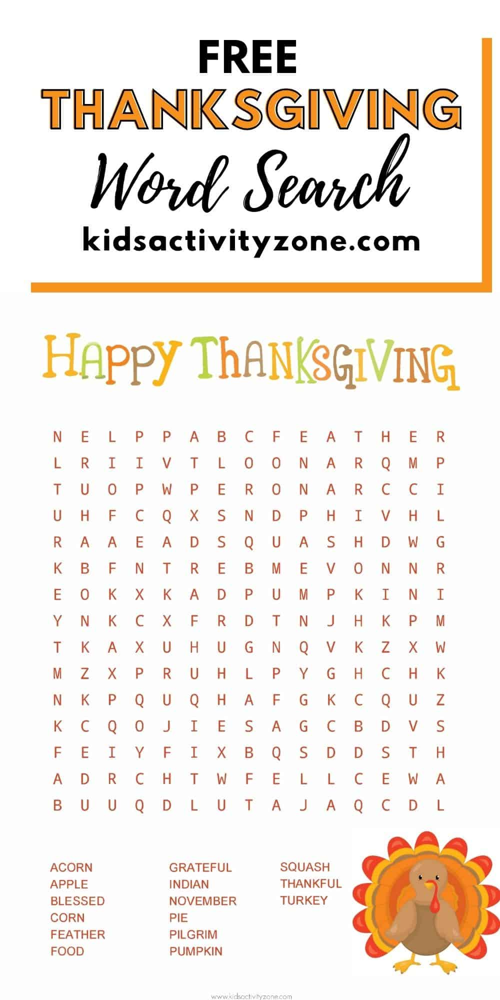 Thanksgiving Word Find Printable is the perfect fun, easy entertainment for Thanksgiving. Great addition to family gatherings to enjoy while the turkey roasts or after you eat. It would be a great addition to any classroom parties too!