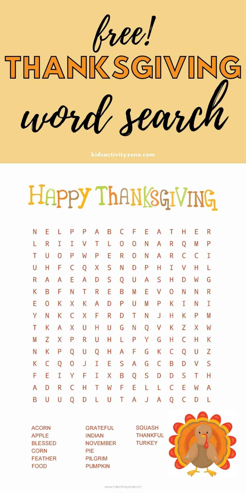 This free printable Thanksgiving Word Search is the perfect Thanksgiving party activity for both young and old. Great for when you are hosting holidays to entertain guests before or after your meal or the perfect entertainment for a classroom party.