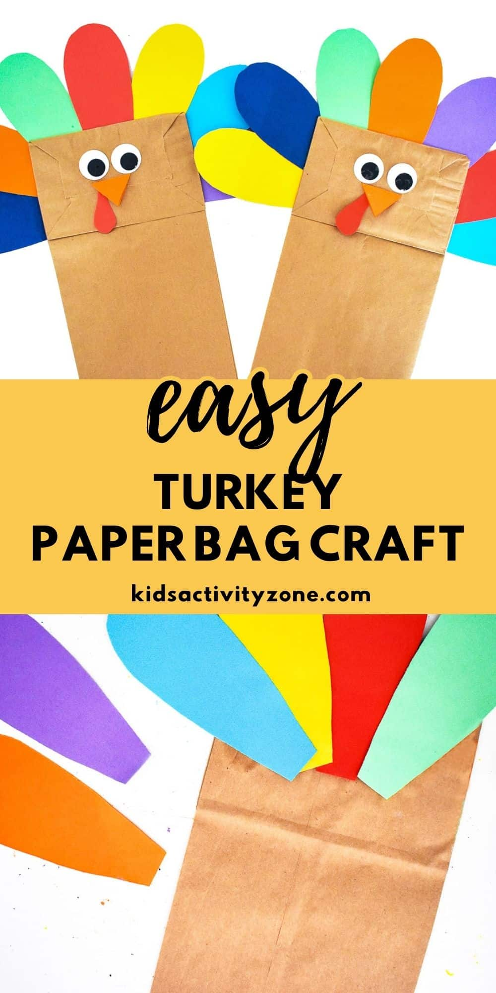Looking for a fun and easy Thanksgiving craft for the kids? This adorable Turkey Paper Bag Craft is so easy to make and fun for all. Simply cut the feathers out of different colors of paper and then assemble the turkey! Cute, fun and easy!
