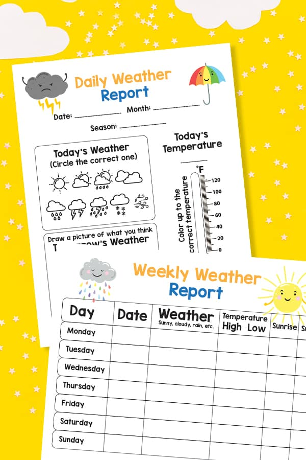 These free printable weather charts will help you track today's weather including the temperature, season, predicting tomorrow's weather and more!