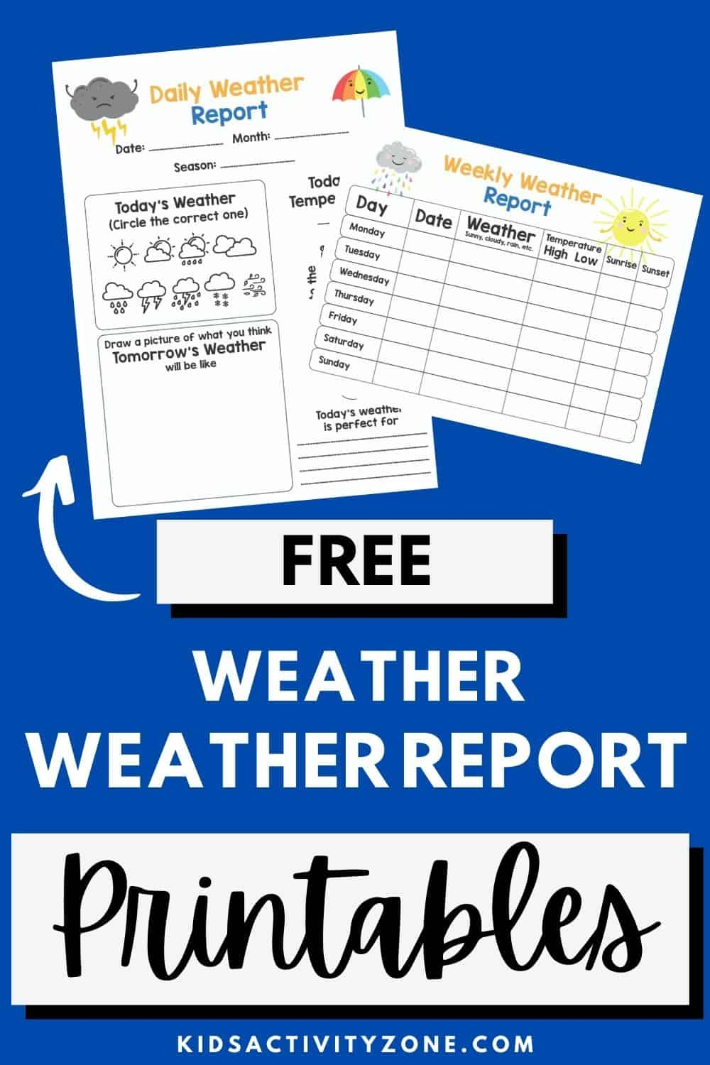 Free Daily and Weekly Weather Journal Printable perfect for elementary students learning about the weather. If you have a weather unit coming up you want this printable where kids can record today's weather plus predict tomorrow's.