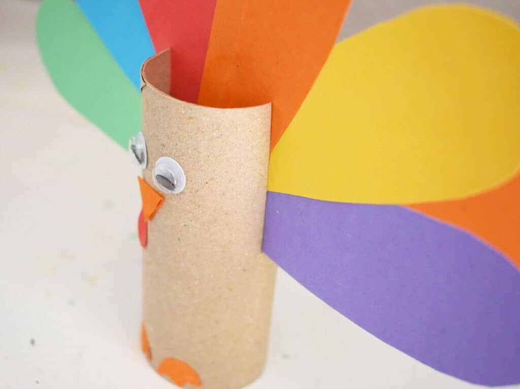 Toilet paper roll with turkey craft done