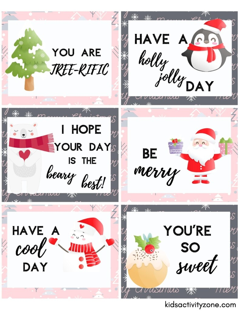 Christmas Lunchbox Notes Sheets printable