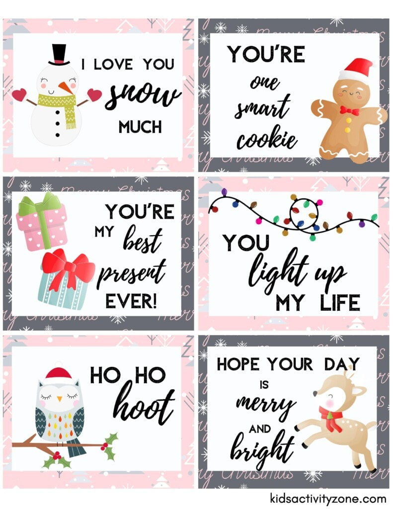 Christmas Lunchbox Notes Sheet