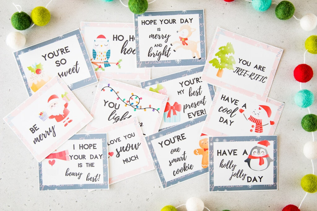 Lunchbox Notes that are cut out and laying on light background with a Christmas theme