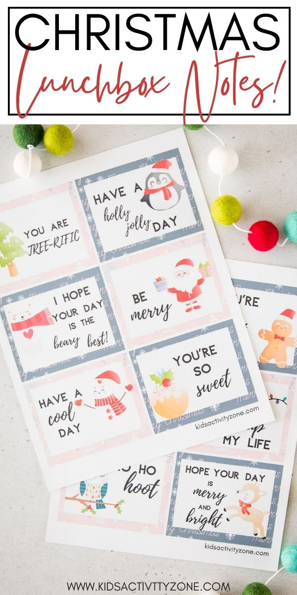 Christmas Lunchbox Notes are a fun idea to pack in your child's lunchbox. They will love them no matter their age, plus great ideas to write on the back of them. A free printable perfect for Christmastime!