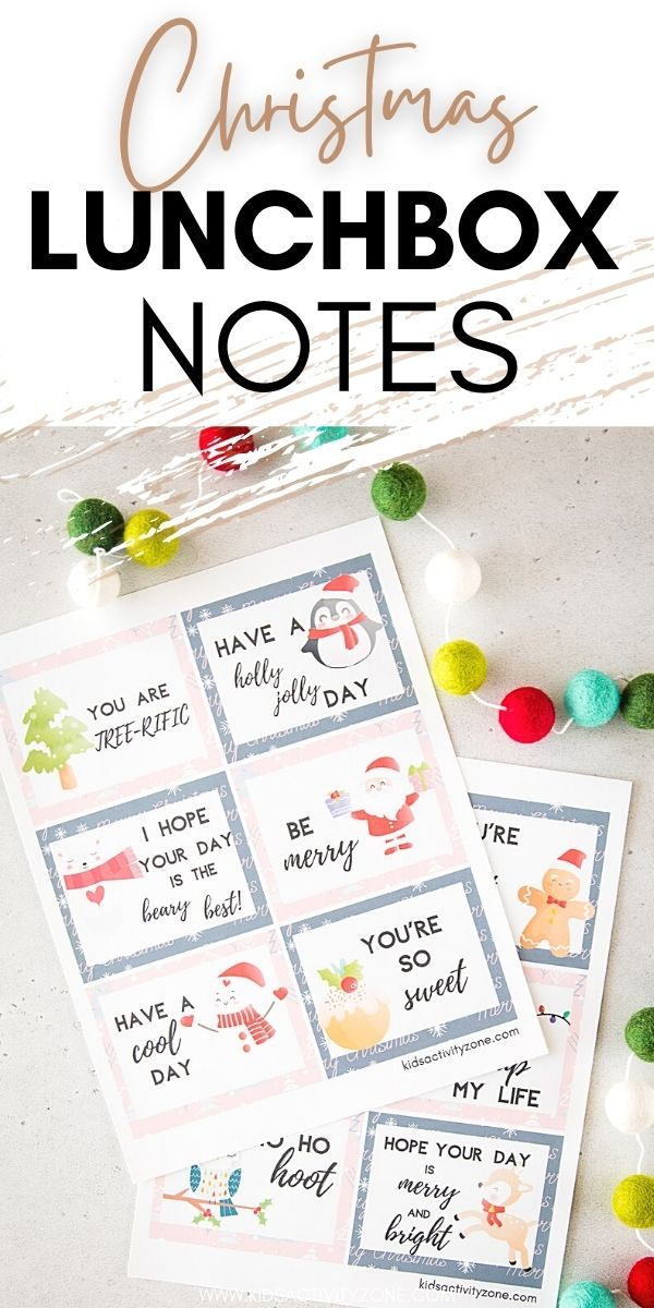 Send a sweet note in your child's lunch box with these free printable Christmas Lunchbox Notes. A total of 12 different notes and perfect to send before Christmas to let them know you love them!