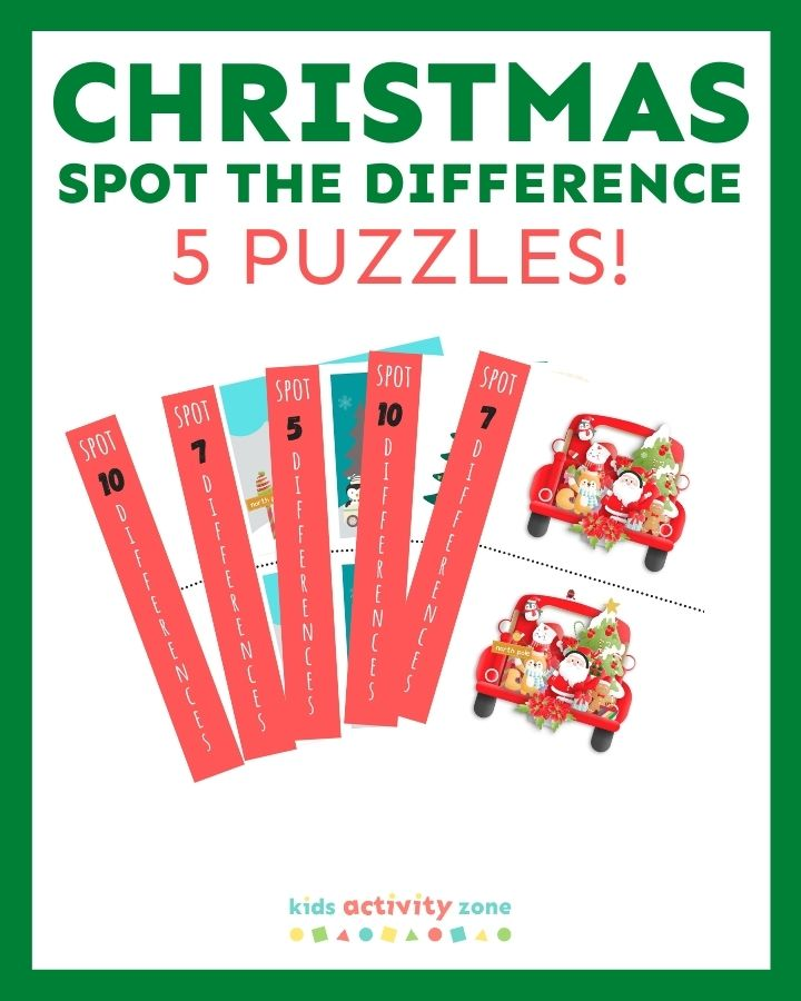 Featured image showing Christmas Spot the Difference printables