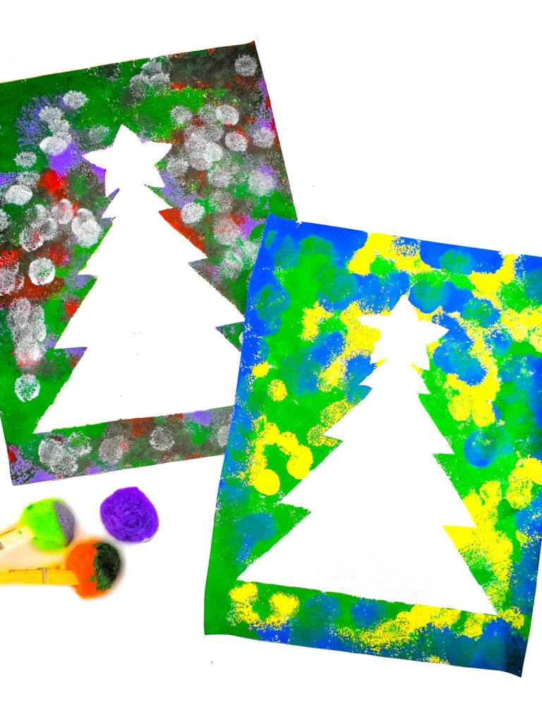 Christmas Tree Pom Pom Painting Kids Activity Zone