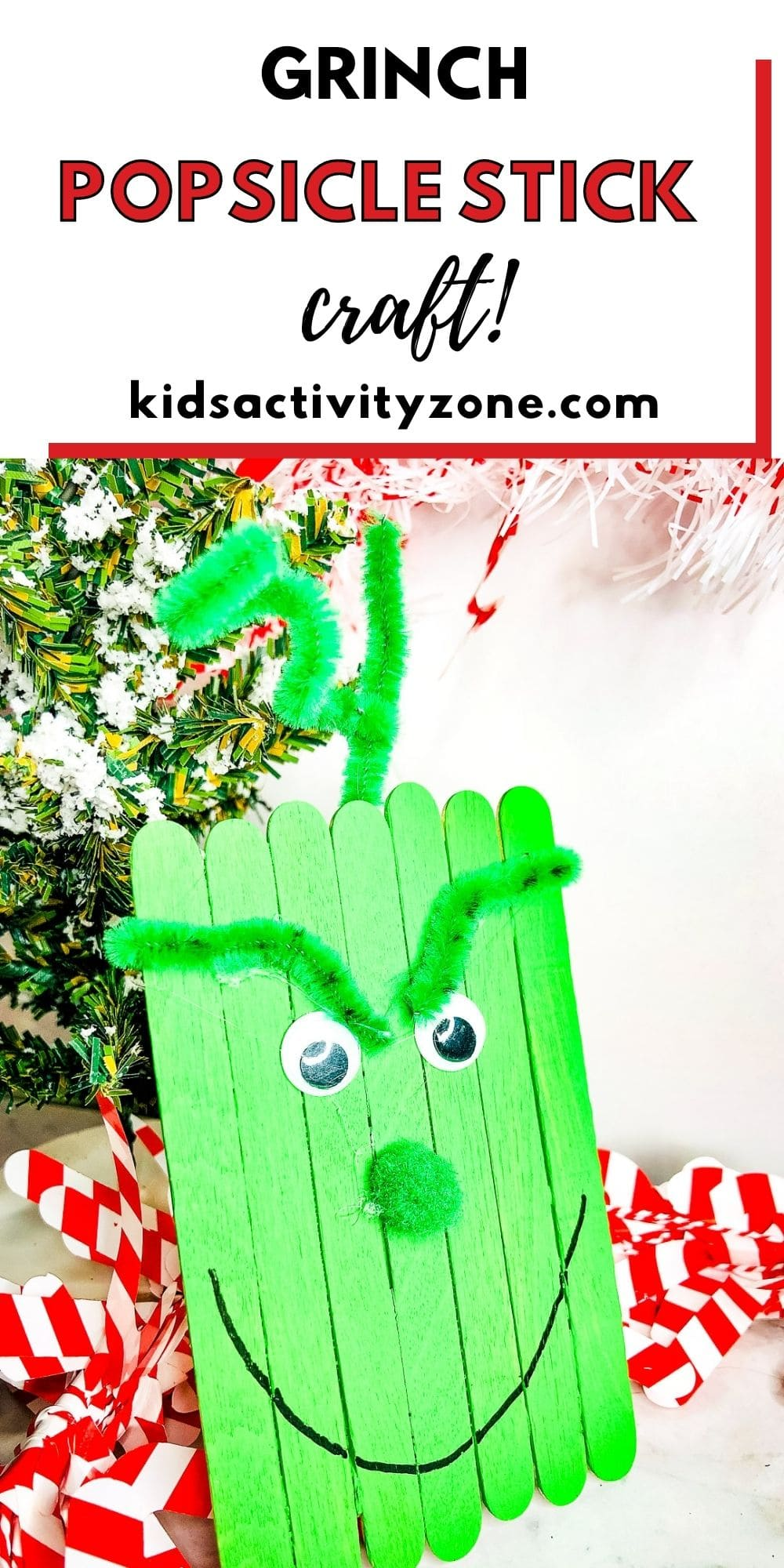 Quick and easy Grinch that's made out of Popsicle Sticks. This easy, festive, holiday craft is fun for fall. Watch the movie or read the book then make a Grinch Craft.
