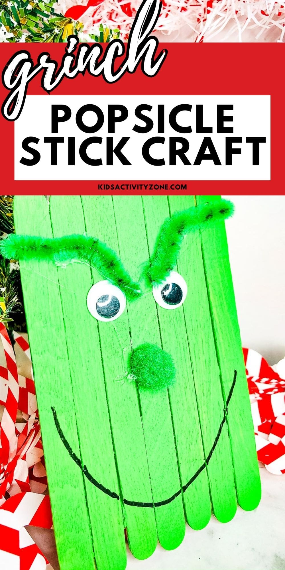 Grinch Popsicle Stick Craft is the perfect holiday craft to do at home, holiday parties or in the classroom. Pair it with the book or movie for more Grinch themed fun!
