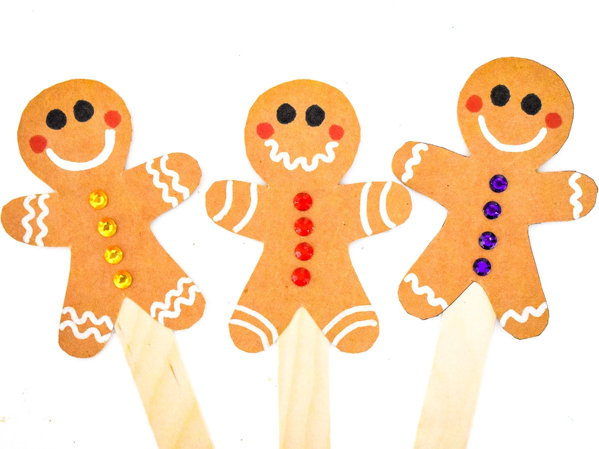 A group of three Gingerbread Man Stick Puppets