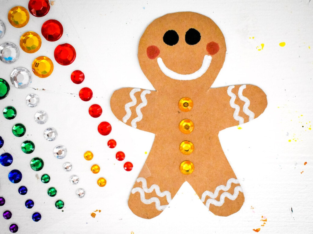 Gingerbread Man decorated on brown paper