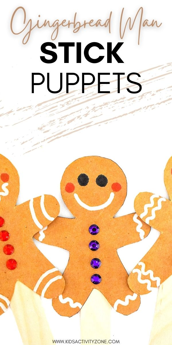 Gingerbread Man Puppets are a quick and fun craft for kids! Decorate your gingerbread man cut out and glue it to a craft stick to make a stick puppet. Template for Gingerbread Man is provided to trace!
