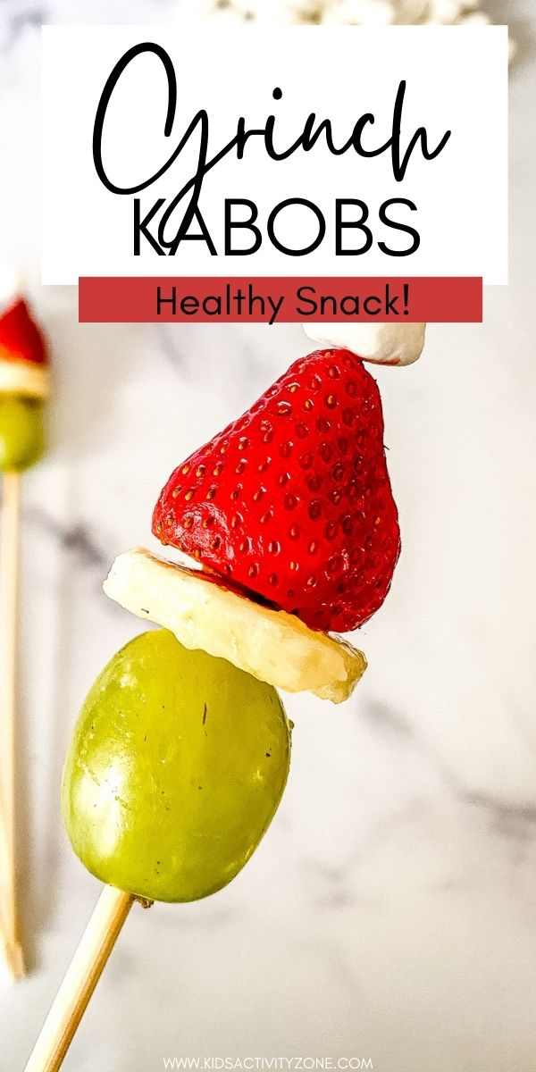 Grinch Kabobs look like the Grinch and are so easy to make that the kids can help make them. Just thread a grape, banana, strawberry and miniature marshmallow on a toothpick or wooden skewer to look like the Grinch! Great idea for holiday parties and a fun snack in the afternoon!